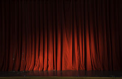 Red stage curtain hide coming show action Stock Photo