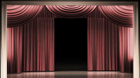 Red stage curtain with light. And shadow Royalty Free Stock Photos