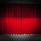 Red stage curtain. With light and shadow Stock Image
