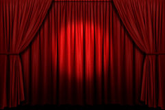 Red Stage Curtain With Spotlight Royalty Free Stock Photos