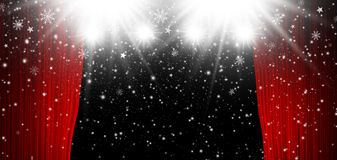 Red stage curtain with spotlight and falling snow Vector Illustration