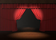 Red stage curtain with spotlight on stage Stock Images