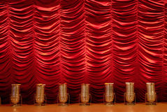 Red stage curtain with spotlights Royalty Free Stock Image