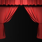 Red stage curtain with spotlights Stock Images