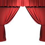 Red stage curtain with spotlights Royalty Free Stock Photos