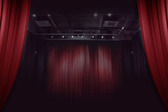 Red stage curtain in theater Stock Photo