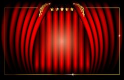 Oscar template concept, vector illustration abstract golden stars frame logo icon, red carpet cinema films concept. Red Stage Curtain, vector illustration vector illustration