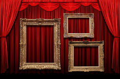 Free Red Stage Curtain With Gold Frames Royalty Free Stock Photo - 6302205