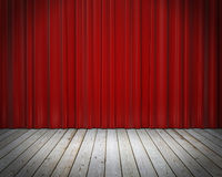 Red stage curtain and wooden floor, background Royalty Free Stock Photography