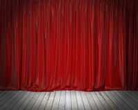 Red stage curtain and wooden floor, background. Template design Stock Photography