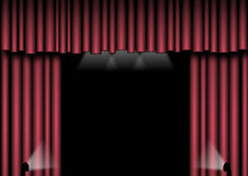 Red Stage Curtains. Red velvet curtains with spotlights to the side and above Royalty Free Stock Photography