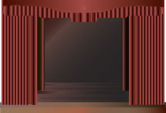 Red stage curtains. Stock Photo