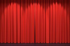 Red stage curtains 3D illustration. Red stage curtains. Luxury red velvet drapes, silk drapery. Realistic closed theatrical cinema curtain. Waiting for show Stock Image