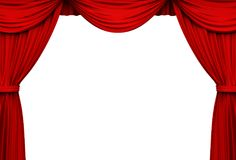 Red stage curtains isolated on white background. Red stage curtains frame borders isolated on white background . 3D rendering Royalty Free Stock Photo