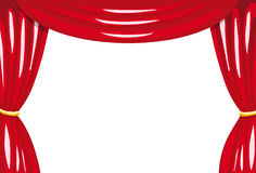 Red stage curtains. Open red stage curtains  on white Royalty Free Stock Photo