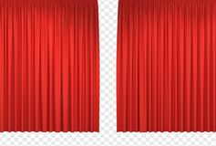 Red stage curtains. Realistic open theatrical cinema drapes for interior performance event on theatrical stage or in concert hall. Vector illustration vector illustration