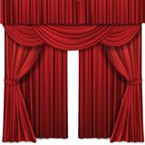 Red stage curtains realistic vector illustration for theater or opera scene performance vector illustration