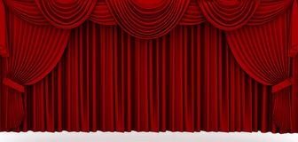 Red stage drapery. Rendering, closed Royalty Free Stock Images