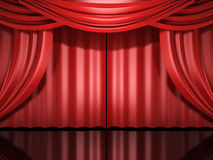 Red stage drapes Stock Image