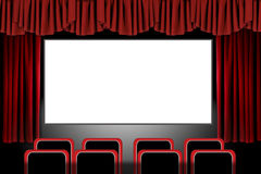 Red Stage Drapes in a Movie Theatre Setting: Illus. Panoramic Movie Theater With Drapes and Seats: Illustration in Photoshop Royalty Free Stock Photo