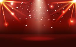 Red stage with neon bright effect and paper confetti celebrate, sunburst light beam scatter abstract background vector royalty free illustration