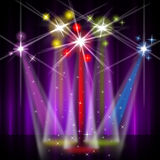 Red Stage Represents Beam Of Light And Colorful Royalty Free Stock Photos
