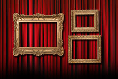 Red Stage Theater Curtains With  Royalty Free Stock Image