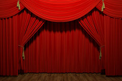Red stage theater velvet drapes Royalty Free Stock Photos