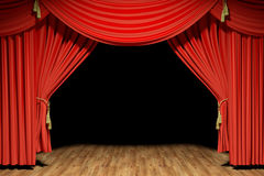 Red stage theater velvet drapes Stock Photo