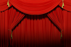 Red stage theater velvet drapes Stock Photography