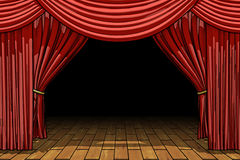 Red stage theater velvet drapes Royalty Free Stock Images