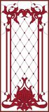 Stained-glass panel in a rectangular frame. Decorative design of the window or door. Red stained-glass panel in a rectangular frame, abstract floral arrangement Stock Images