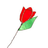 Red stained glass tulip flower isolated on white. Red stained glass handmade tulip flower isolated on white background Royalty Free Stock Photos