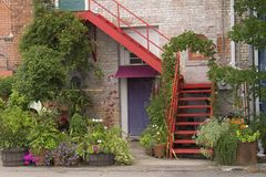 Red stair. S in front of building Stock Images