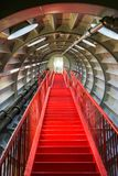 Red staircase from inside the Brussels Atomium Building.  Stock Image