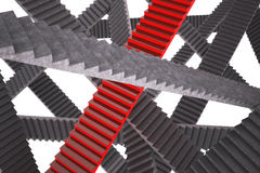 Red staircase in the space. 3d illustration. Red staircase in the space Royalty Free Stock Photo