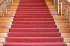 Red staircase up Royalty Free Stock Photography