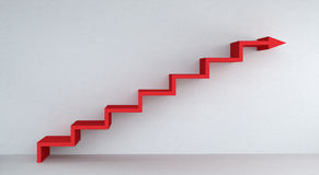 Red stairs arrow going up on concrete wall 3D rendering. Red stairs arrow going up on concrete wall and bright interior 3D rendering Stock Photos