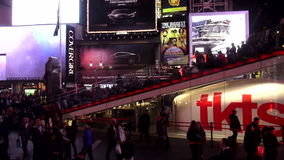 Red stairs at Times Square TKTS pavillion USA cityscapes stock video