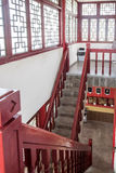 The red stairs in Wangyue Tower stock image