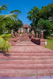 Red stairt to the temple in Sihanoukville Royalty Free Stock Photography