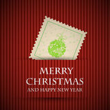 Red stamp christmas card Stock Image