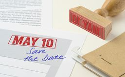 May 10. A red stamp on a document - May 10 stock image