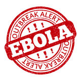 Red stamp with Ebola concept text on white. Background.  illustration for warning informing about deadly virus disease Royalty Free Stock Photo