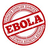 Red stamp with Ebola concept text on white. Background.  illustration for warning informing about deadly virus disease Royalty Free Stock Photography