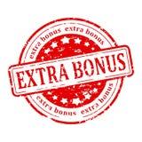 Red stamp - extra bonus. Damaged round red stamp with inscription - extra bonus - illustration stock illustration