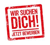 Red Stamp - German Slogan Wir suchen Dich We want you stock illustration