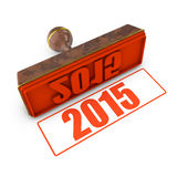 2015 red stamp. And imprint on the white background stock illustration