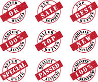 Red Stamp Set. Business Red Stamp Set for New Productions Stock Images