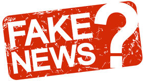 red stamp with text Fake News stock illustration